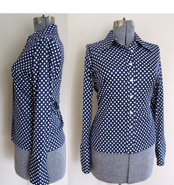 Blue Polka Dot Shirt Polka Dot Blouse Navy Blue