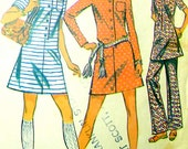 60s A-Line Dress, Pants McCalls 2237 Vintage Sewing Pattern, Size 10, Bust 32 1/2