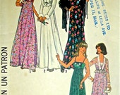 70s Empire Maxi Dress & Jacket Vintage Pattern Simplicity 7807 Shoulder Straps Size 6 and 8