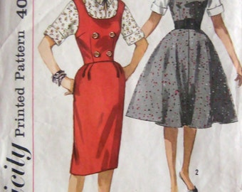50s Slim Dress or Flared Dress Jumper, Simplicity 3595 Vintage Sewing Pattern Size 14, Bust 34