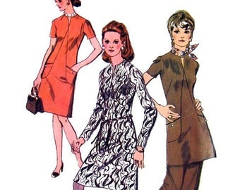 70s Dress Vintage Sewing Pattern Simplicity 9013 Tunic Front Seam Interest, Pants, Bust 36""