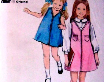 60s Girls A-Line Dress, Butterick 3845 Sewing Pattern Jumper & Blouse, Size 6