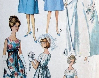 60s Wedding Dress Vintage Simplicity 5872 Sewing Pattern Bust 31.5