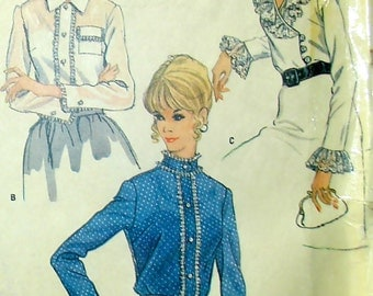 Vintage 60s Misses Ruffled Blouses, McCall's 6490 Sewing Pattern Bust 34""
