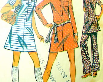 60s A-Line Dress, Pants McCalls 2237 Vintage Sewing Pattern, Size 10, Bust 32 1/2
