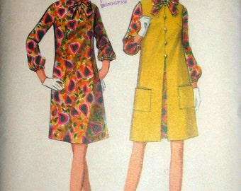 60s A-Line Dress & Coat, Butterick 4606 Vintage Sewing Pattern,  Size 12, Bust 32