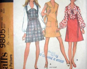 60s Dress, Jumper, Blouse, McCalls 9805 Vintage Sewing Pattern, Size 10