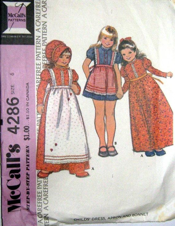 Vintage 70s Girls Dress Apron Bonnet McCalls 4286 Sewing Pattern Size 6 Chest 25