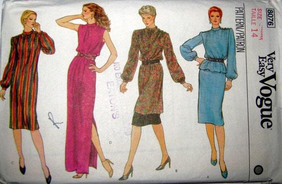 VOGUE 8076 Evening Dress Sewing Pattern, Tunic, Skirt Pattern, SIZE 14, BUST 36