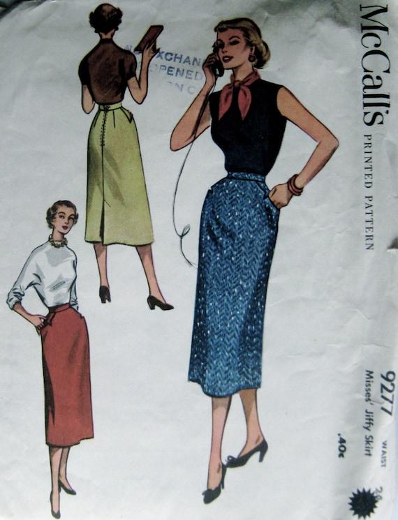 50s Slim Skirt Vintage Sewing Pattern - McCalls 9277, 33 Inch Hip