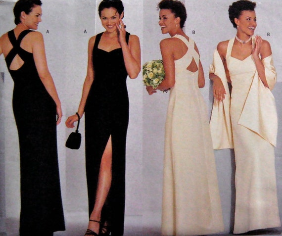 90s Butterick 6463, Wedding Evening Dress and Stole Pattern, Size 18 to 20, Bust 40 to 44