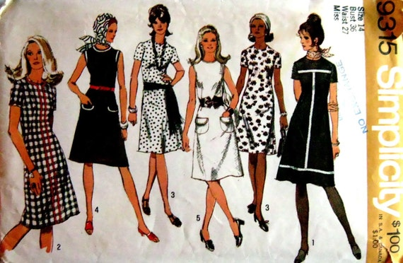70s A-Line Dress, Simplicity 9315 Vintage Sewing Pattern, Bust 36
