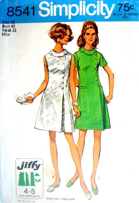 60s Mini Dress Jiffy Dress Vintage Sewing Pattern Simplicity 8541 - Size 18 Bust 40