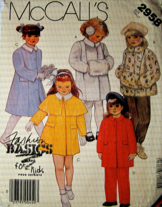 McCalls 2958 Vintage 80s Childs Coat Jacket Cape Pants and Muff Sewing Pattern Size 2