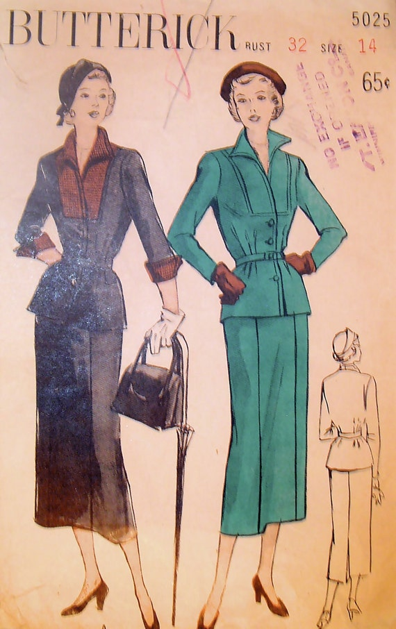 50s Slim Skirt and Belted Jacket Butterick 4577 Vintage Sewing Pattern Size 14, Bust 32