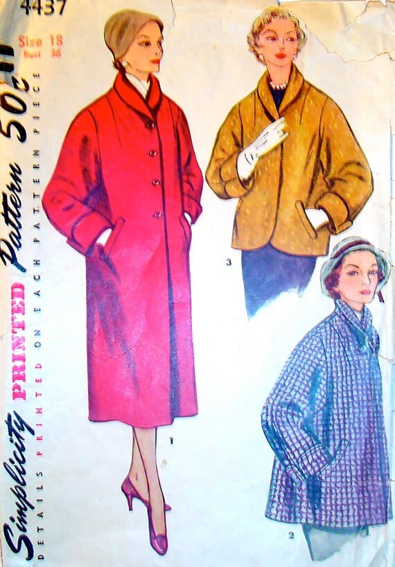50s Coat Vintage Sewing Pattern Simplicity 4437 Bust 36 Size 18