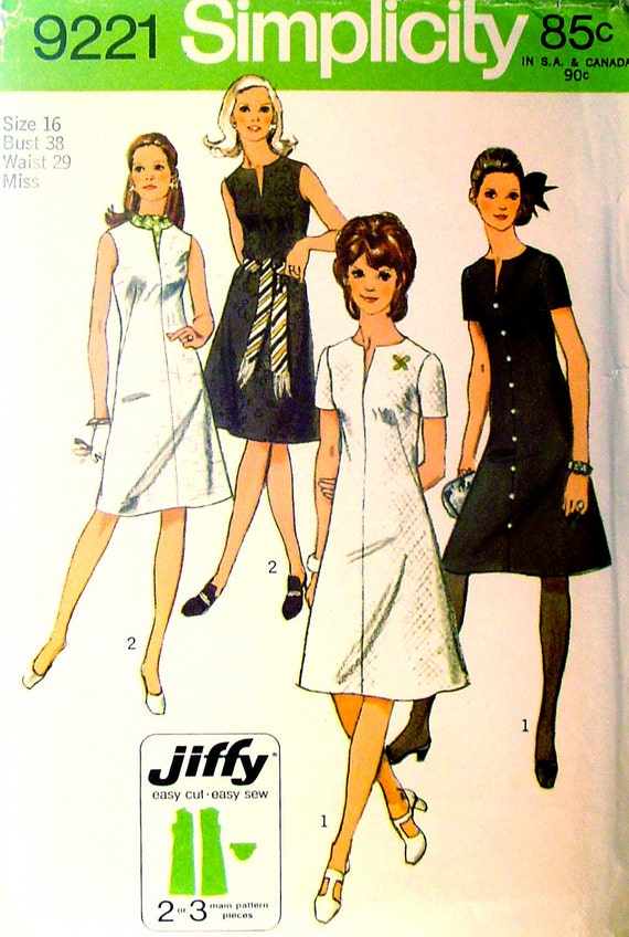 70s Jiffy A Line Dress Vintage Sewing Pattern Slit Neckline Simplicity 9221 Bust 38, Size 16