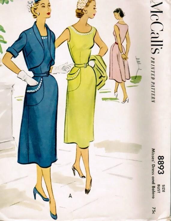 50s Sheath Dress Vintage McCalls 8893 Sewing Pattern, Bust 30