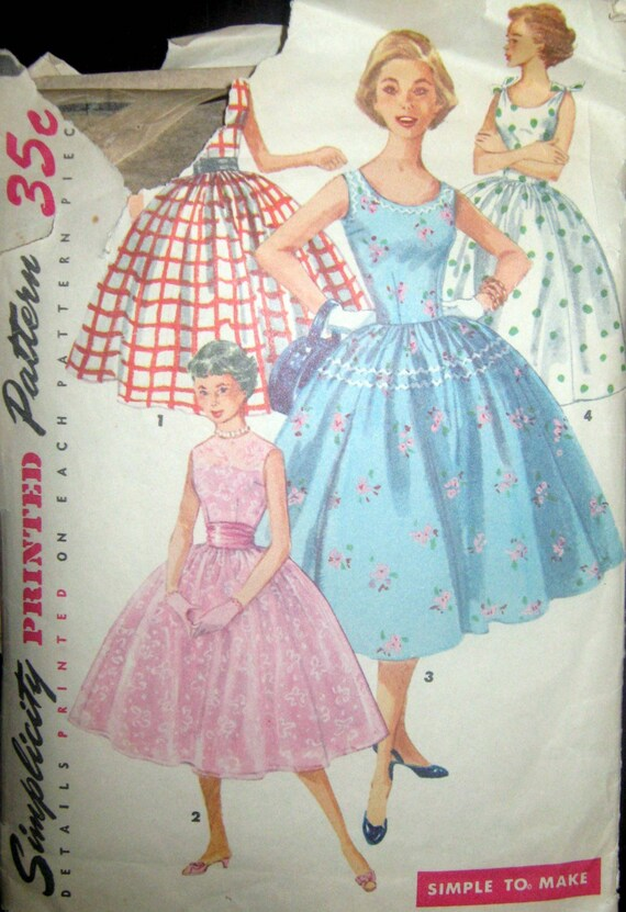 1950s Vintage Sewing Pattern - Misses Party Dress, Simplicity 1213 Size 14