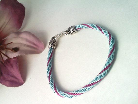 Sky Blue and Fuchsia Spotted Spiral Kumihimo Bracelet