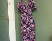 Blue and Pink Floral Dress with Ruched Top - Medium
