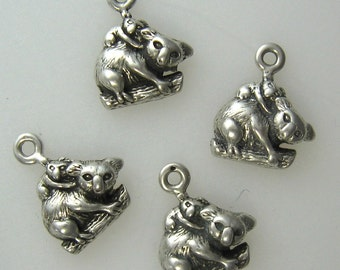 Little Koala Bear Sterling Silver Charms-4pcs