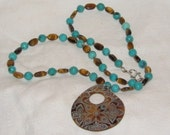 Tiger's Eye and Turquoise Necklace with Shell Pendant