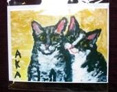 Two Cats Cuddling single 5 1\/2x4 1\/4