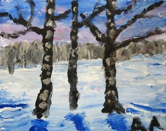 Three Birch Trees large single card 6 1\/2 x  4 1\/2 inches