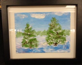 Two Fir Trees on a Frigidly Cold Day, 4x6 acrylic painting, finger-painted on canvas. Comes with black frame.
