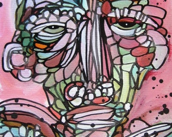 Original Funky Folk Figure Eclectic Pink Creature with Wings Modern Mosaic Painting Paper Art