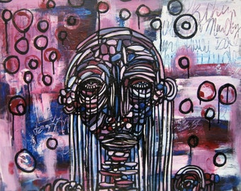 24x30 Large Graffiti Painting Canvas Original Painting Modern Contemporary Art by Julie Steiner