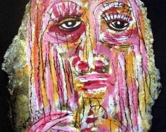 Original Tar Portrait.  Pink girl