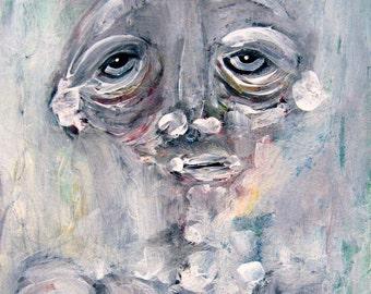 Fine Art Contemporary Figure Raw Art Original Abstract Portrait White Painting