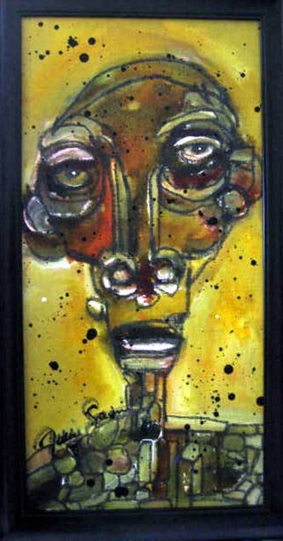 Mixed Media Original painting modernist figure portrait face in gold and brown