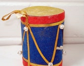 Vintage Red Blue Gold Drum Christmas Ornament - VintageTinsel