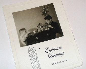 Vintage Christmas Greetings Photograph Post Card, Mid Century Christmas Card, Nativity Set, Boys  (752-10)
