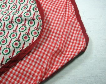 Vintage Christmas Holiday Table Runner, Topper, Red Checks, 42 Inches Long  (282-11)