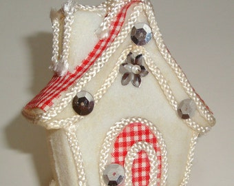 Vintage Christmas Ornament,  Red and White Check, Flocked Holiday Decor, Cottage  (448-11)