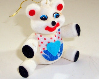 Vintage Flocked Teddy Bear Christmas Ornament, Novelty Holiday Decor, Colorful, Retro, New Old Stock, McCrory Corp.   (529-11)