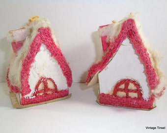 Vintage Pink And White Cottage Christmas Ornaments (705-11)
