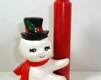 Vintage Snowman Candle Holder, Hugger,  Christmas Decoration  (1007-11)