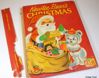 Kewtee Bear's Christmas, Vintage Children's Christmas Wonder Book, Mid Century, Child's Story, Red, 1956  (656-11)