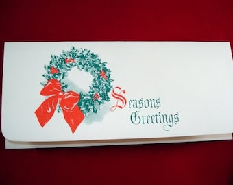 Vintage Money Holder Card, Seasons Greetings, Mid Century Christmas Card, Old Holiday Paper Ephemera, Wreath, Red and Green  (603-10)