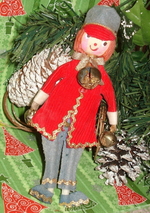 All Dressed Up in Red  Jingle Bells Vintage Christmas Ornament  (625-10)
