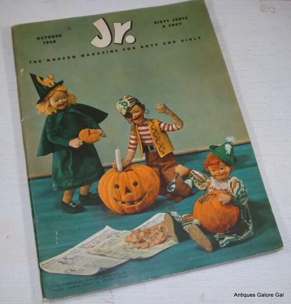 Vintage Children's Magazine, Halloween, For Boys and Girls,  Jr. The Modern Magazine 1948