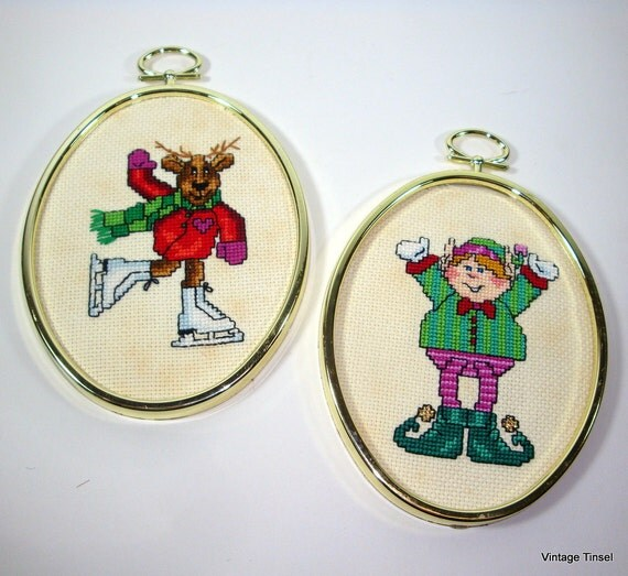 Vintage Framed Elf and Moose Christmas Decorations (567-12)