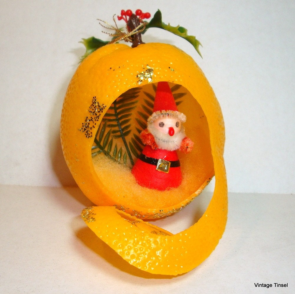 Christmas Decorations With Orange: Vintage Plastic Fruit Christmas Ornament Santa Orange
