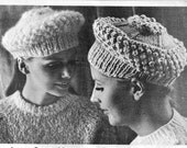 JAUNTY CAPS WITH POPCORN TRIM 60's Vintage Pattern