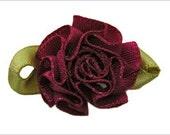 50  Vintage Satin Ribbon Roses Burgundy and Green